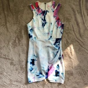 Watercolor Fitted Mini Dress